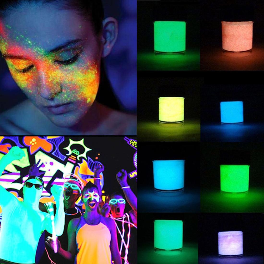 2016 Chic Fluorescent Powder DIY Bright Nail Art Glow In The Dark Sand Powder Glow Pigment Dust Luminous Nail Glitter(China (Mainland))
