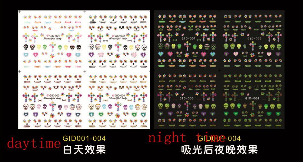 Promotion 2016 DIY Water Nail Stickers Nail art noctilucent/ luminous Decal Luminous stickers Skull/Flowers Free Shipping(China (Mainland))