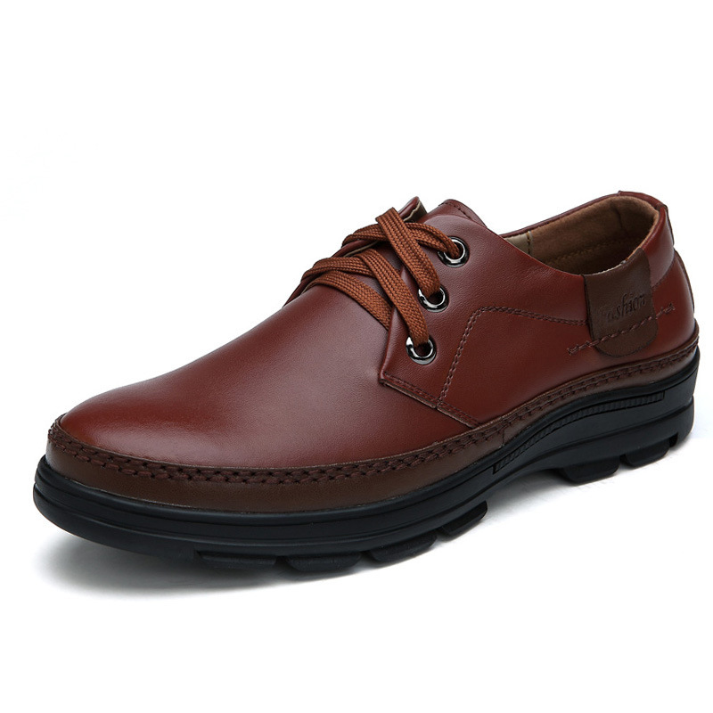 38-44 Men Spring leisure lace-up shoes business suits British men's genuinge leather shoes shoes men man leather thick bottom(China (Mainland))