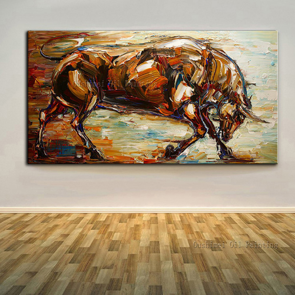 High skills artist 100 hand painted abstract bull oil for Mural on canvas