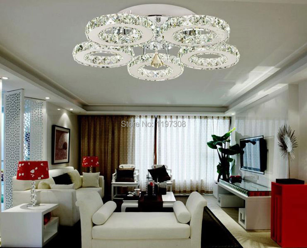 Chandelier Modern Crystal Chandelier With Shade Living Room Lights ...