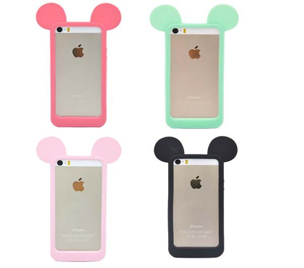 Lovely mouse ear model phone bumper for iphone 4 4s 4g silicon Material CSJK0200(China (Mainland))