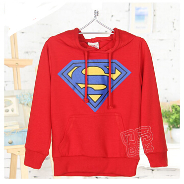 2015 spring and winter boys superman pullover hooded thick clothing kids coat child sweatshirt A0855(China (Mainland))