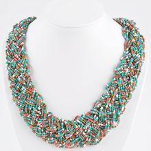 6 Colors, Vintage Braided Beads Necklace, Fashion Women Jewelry Twisted Choker Necklace, Bohemia Choker Necklace(China (Mainland))