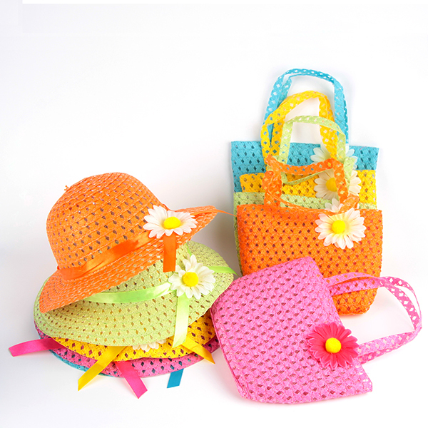 Summer Hat Girls Kids Beach Hats Bags Flower Straw Hat Cap Tote Handbag Bag Suit Hot Selling XZY0233(China (Mainland))