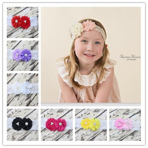Chiffon Flower with Rhinestone Lace Headband for Girl Hair Accessories Stretchy Elastic Lace Headwrap Newborn Headband 10pcs/lot(China (Mainland))