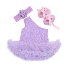 2016 Fashion Baby Girl Rompers Dress Rose Flower Print  Princess Dresses 3 pcs Sets Newborn Infant One Shoulder Clothes(China (Mainland))