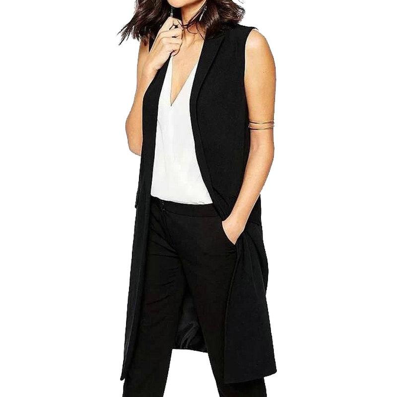 HA10 Fashion 2016 office lady Elegant jackets Vests For Women Sleeveless black Long Outerwear Casual brand colete feminino coats(China (Mainland))