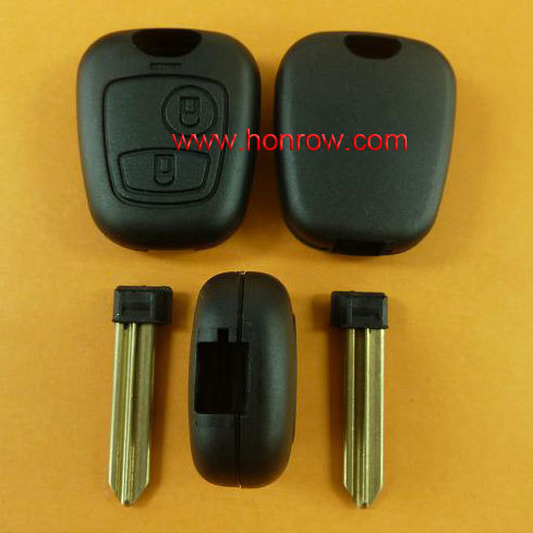 Honrow company new model Citroen 2 button remote key blank With key blade (No Logo),Citroen key shell with free shipping free