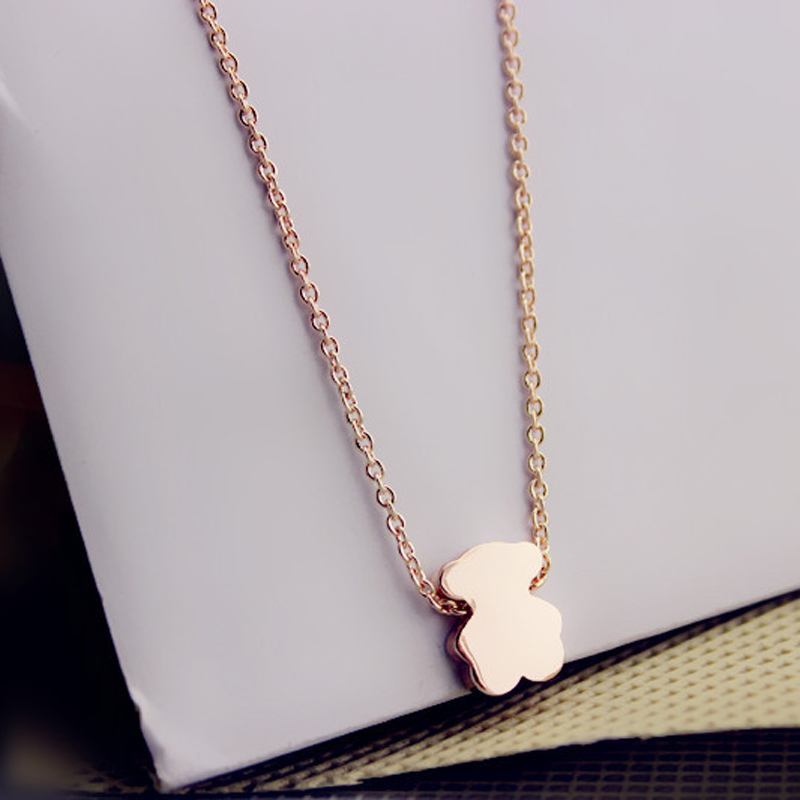 The New Arrival 14K Rose Gold Short Chain Bear Necklace For Women Fashion Bear Jewelry anillos pulseras Gifts tousingly(China (Mainland))