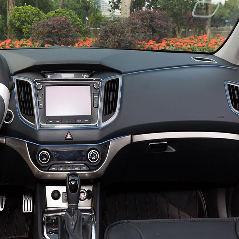 car styling interior trim decoration dashboard vent trim soft pvc for hyundai solaris ix35 i30 elantra accent tucson santa fe(China (Mainland))