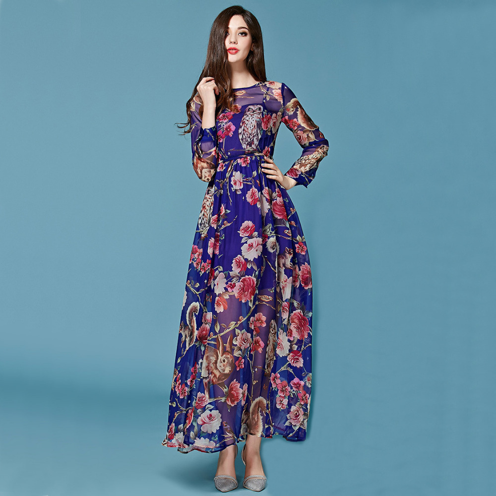 Fast Shippment ! 2015 Summer Fashion Runway European Animal Owl Printed Elegant Long Sleeve Purple Long Dress Plus Size 3XL(China (Mainland))