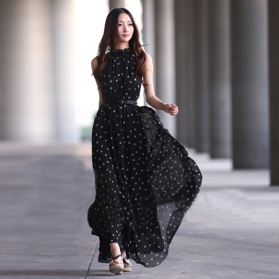 Fantastic 2015 Hot Sale Women Sweet Slim Long Dress Summer New Style Casual