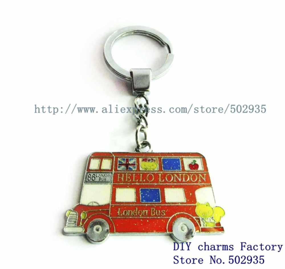 1pc fashion double-decker bus key chain Pendant for bag/car/phone charm gift Factory Direct DIY Accessories(China (Mainland))