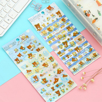 Kawaii Cute Rilakkuma Clear Mini Stickers Phone Bottle DIY Decorative Stick Label Kids Gift Decor