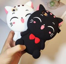 Korea Lovely 3D Cartoon Cat Phone Case Pendant iphone 6 6s 6plus 7 7plus 5 5se Soft Silicone Rubber back cover - Beauty Home Store store
