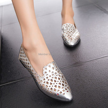 Free shipping new 2014 fashion metallic luster breathable shoes flat shoes with a single hole flat tip for women shoes