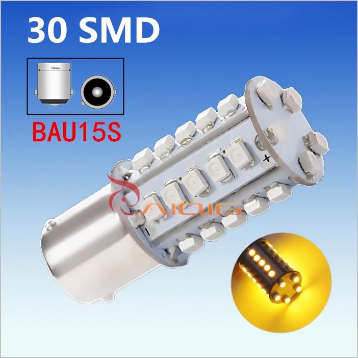 1156 BAU15S 30 SMD Amber Yellow LED Lamp py21w led car bulbs Turn Signal External Lights Car Light Source parking 12V(China (Mainland))