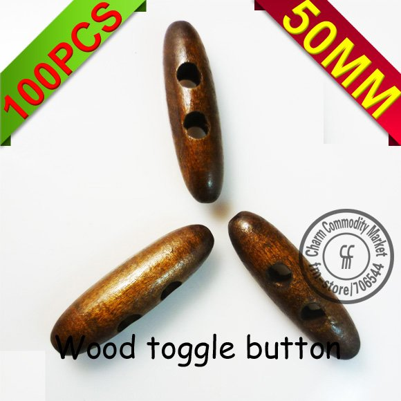 100PCS 50MM wooden horn toggle cloth sewing button cloth accessory WHB-004MC(China (Mainland))
