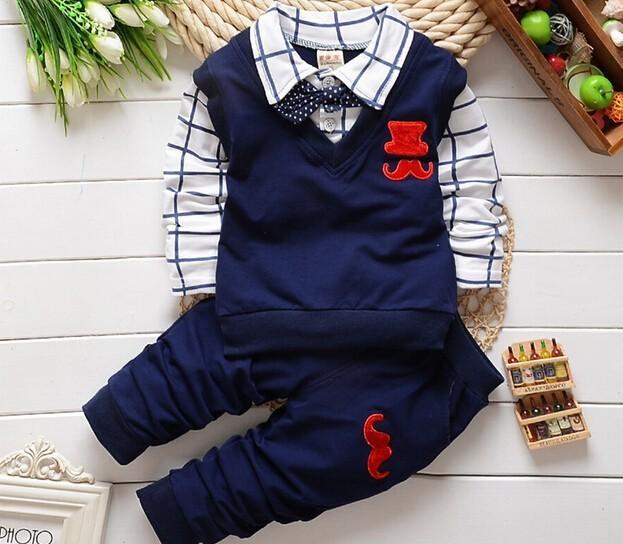 Fashion New Spring&Autumn Baby Boy Clothes Set Vest Tie Plaid Blouse+Pant Suit Kids Boys Clothing Set Children Boy Gentleman(China (Mainland))
