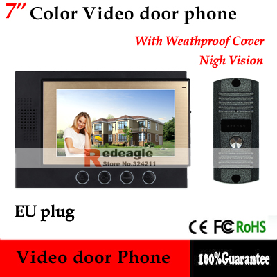 "Home Security 7"" TFT Screen Color Video Door Phone Intercom Kit Night Vision Camera doorphone bell 11 chord melody(China (Mainland))"