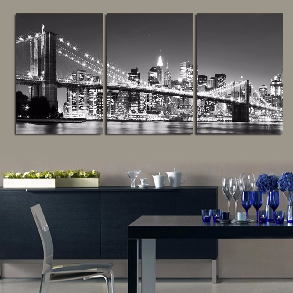 3 Piece Free Shipping Hot Sell Modern wall Painting New York Brooklyn bridge Home Decorative Art Picture Paint on Canvas Prints(China (Mainland))