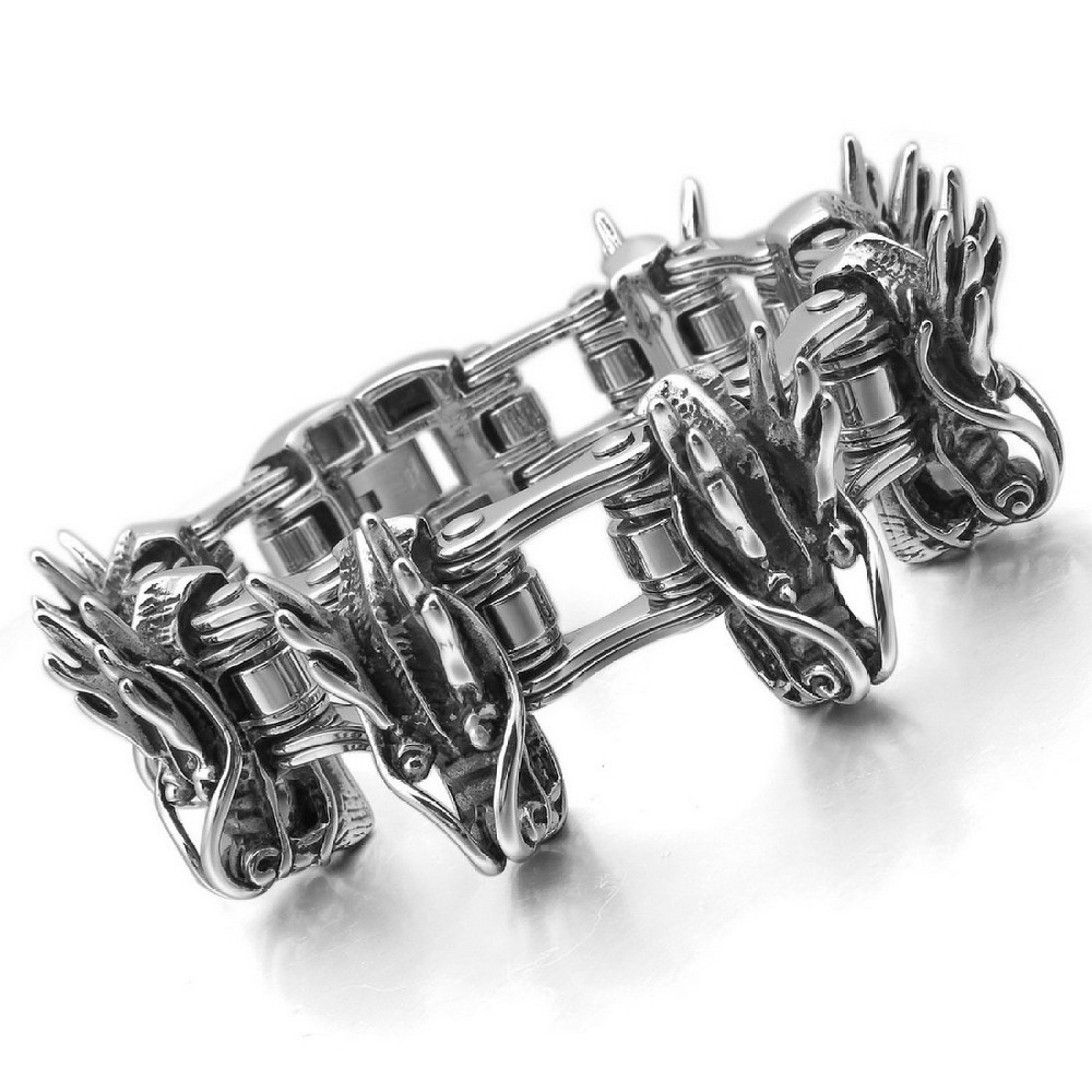 2014 Newest Fashion Stainless Steel Bracelet Link Wrist Dragon Shaped Chain Bracelet Cool Punk Style Bracelet Chain Wholesale(China (Mainland))