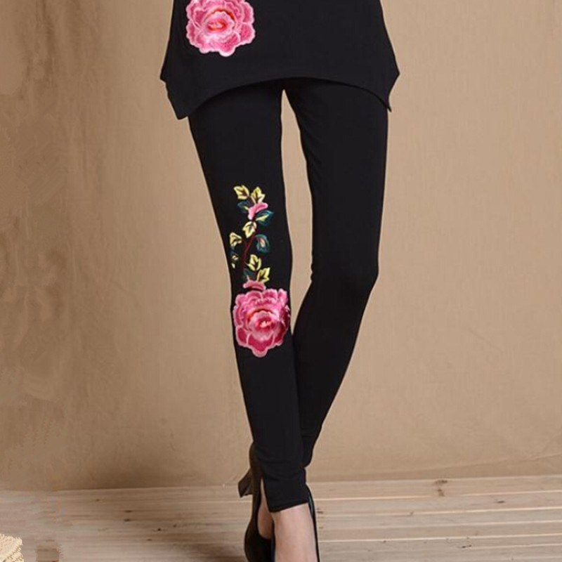 2015 New, Free Shipping National Wind Peony Chinese style Embroidered stretch pants big yards X-4X fitness clothing for women(China (Mainland))