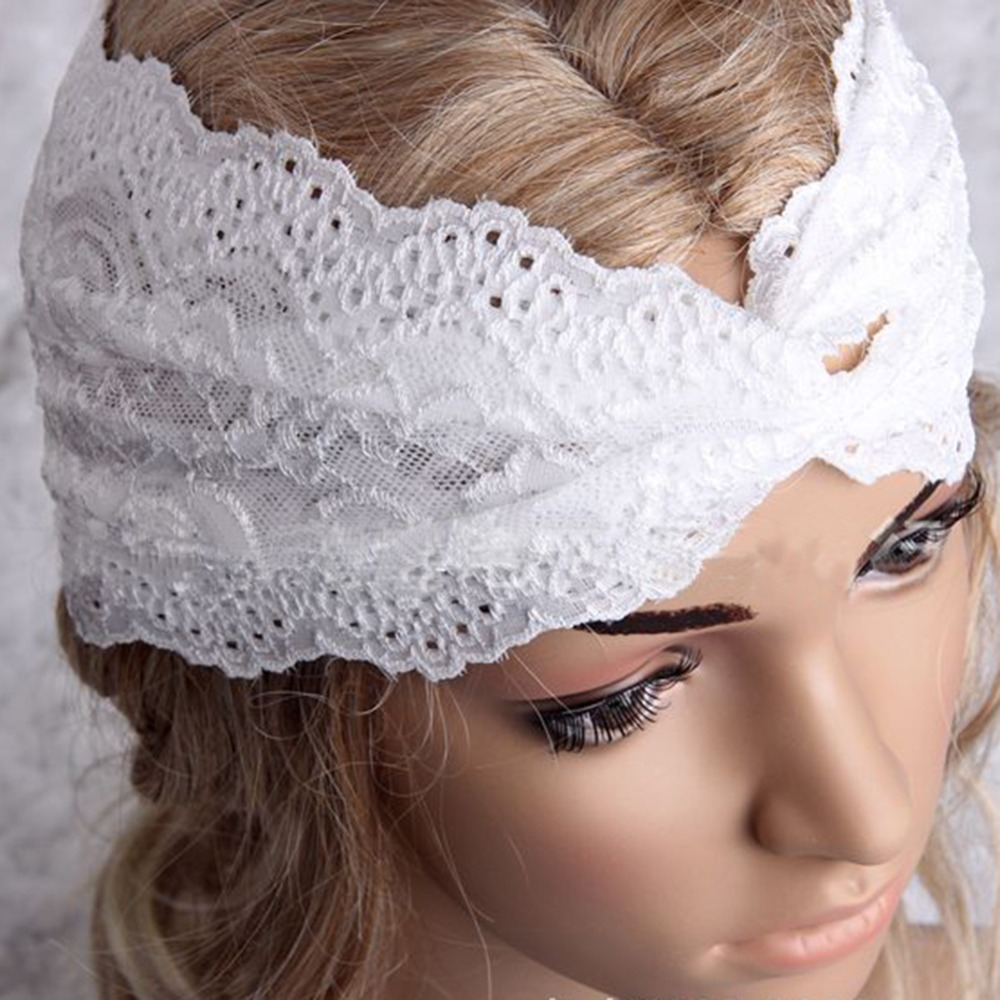 2015 Fashion Solid Lace Crossed Headbands for Women to Casual Occasion(China (Mainland))
