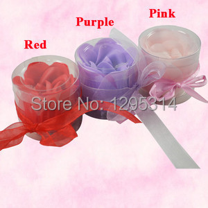 3pcs Scented Bath Body Flower Rose Petal Soap Gift Wedding Favor Boxed 6920 86ls7(China (Mainland))