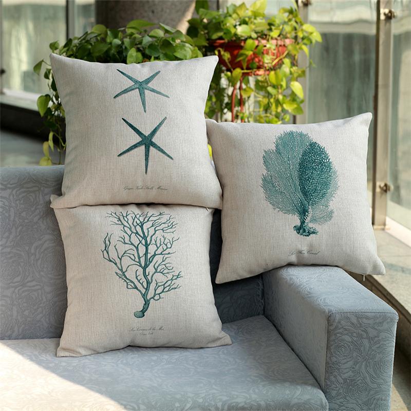 Contemporary Contracted Linen Cushion Covers Prints Sofa Cushion Cover Marine Life Sea Star Home Decor Pillow Cushion(China (Mainland))