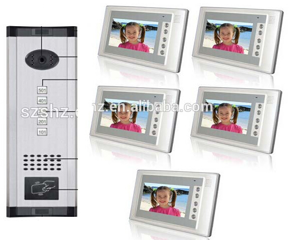 Fashionable and luxury panel wired video door phone support ID card unlock 5 apartments intercom system for villa with camera(China (Mainland))