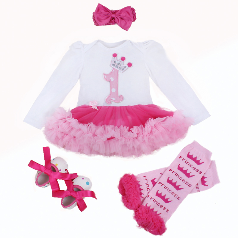 Infant Newborn Christmas Cute Kids Baby Girl Clothes 4Pcs Pink Minion Long-Sleeve Tutu Dress 1st Birthday Gifts Outfits 2015 New(China (Mainland))