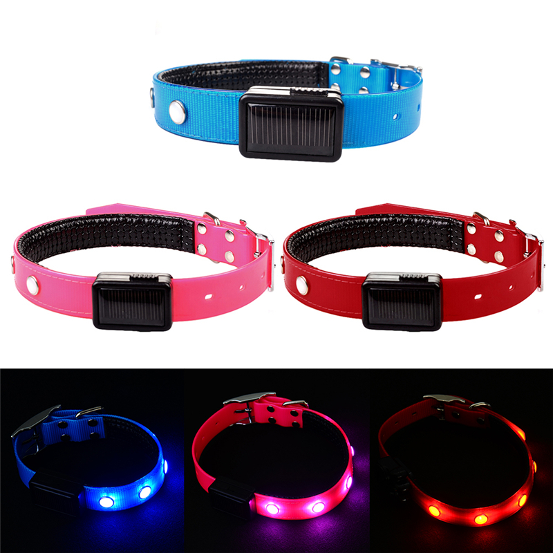 Solar Powered LED Light Dog Collar TPU Rhinestone Decorations Collars for Pet Puppy Kitten Cats Pets Accessories(China (Mainland))