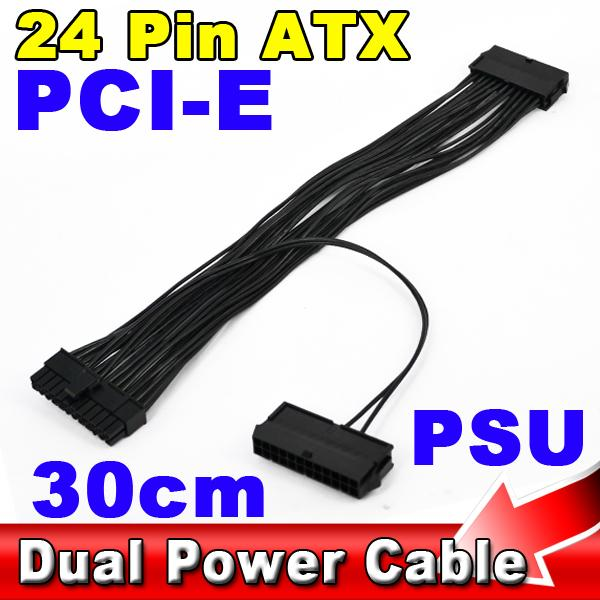 30CM Dual PSU Power Supply 24 pin ATX Motherboard Mainboard Adapter Connector Cable(China (Mainland))