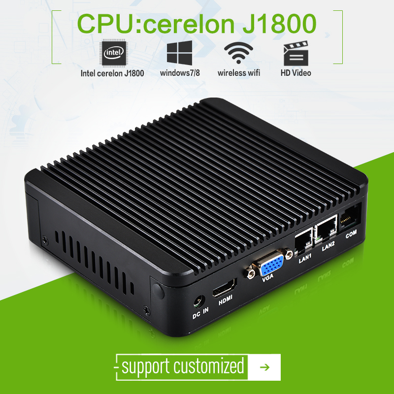 Fanless XCY Mini PC celeron J1800-2 Dual Core Car PC Power Supply 12V/5A Thin Client Windows7 Wireless 150M or 300M mini pc(China (Mainland))