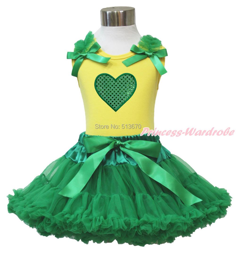 Valentine Sparkle Green Heart Yellow Pettitop Baby Girl Green Pettiskirt 1-8Year MG1312(Hong Kong)