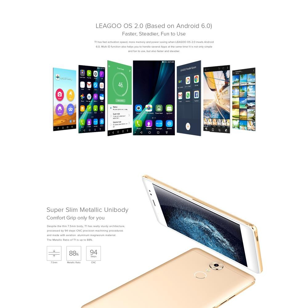 Original LEAGOO T1 Fingerprint Smartphone Android 6.0 MTK6737 Quad Core 1.3GHz 4G LTE 5.0″ 2GB RAM 16GBROM 13MP Mobile Phone