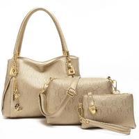 New 2015 women handbags genuinet leather handbag women messenger bags brand designs bag bags Handbag+Messenger Bag+Purse 3 Sets
