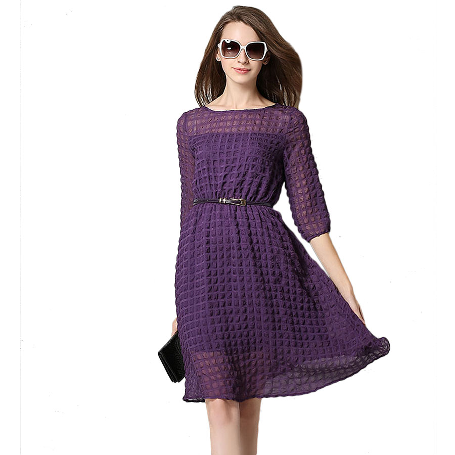 2016 Spring New Women Lady Dress And Long Sections Chiffon Women Dress Round Neck Slim Dress Party Dresses Summer Dress VestidosОдежда и ак�е��уары<br><br><br>Aliexpress