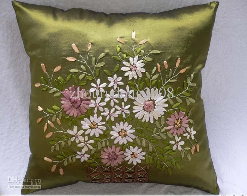 Wholesale finished handmade ribbon embroidery pillow