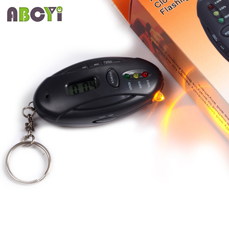 Mini 3 LED the breathalyzer Keychain alcohol tester with flashlight, clock timer & color box, 100pcs/lot DHL EMS free shipping(China (Mainland))