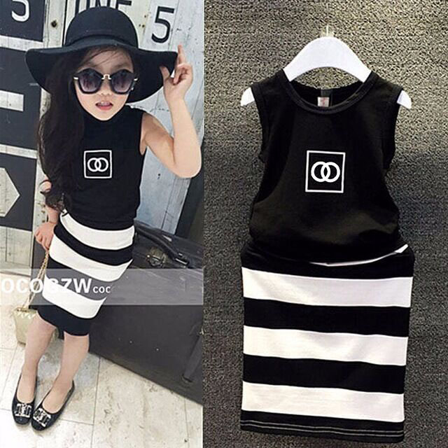 2016 new pattern fashion movement summer dress girls clothes baby black and white striped dress children Clothing(China (Mainland))
