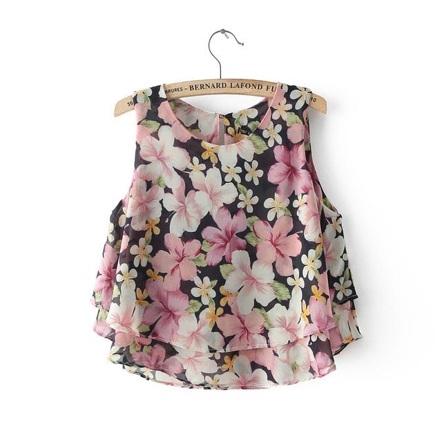 2016 лета женщин шифоновая блузка мода цветочные печатный топы рукавов жилет Vestidos качество топ размер M-XXL бесплатная доставка