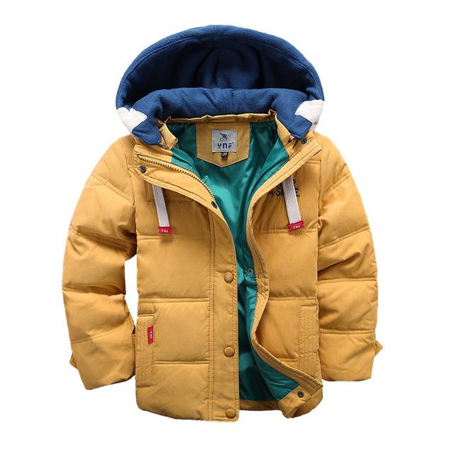 2016 Новых детей Вниз и Парки 4-10 Т зима дети верхняя одежда мальчики случайные теплое с капюшоном куртки для мальчиков твердые мальчики теплый пальто