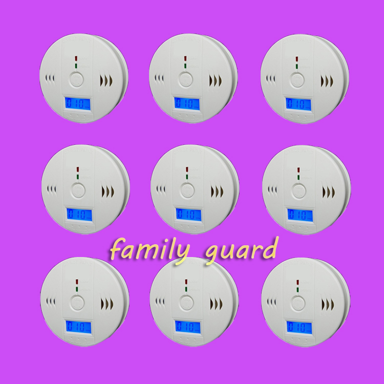 Free Shipping!9 pcs/lot Home Security Sensitive Special Battery Operated Smoke Carbon Monoxide Gas Sensor CO Alarm Detector LCD(China (Mainland))