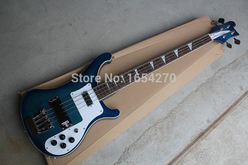 Free shipping 2015 New arrival electric bass rickedbacker Blue dual jack of log guitar 151022(China (Mainland))