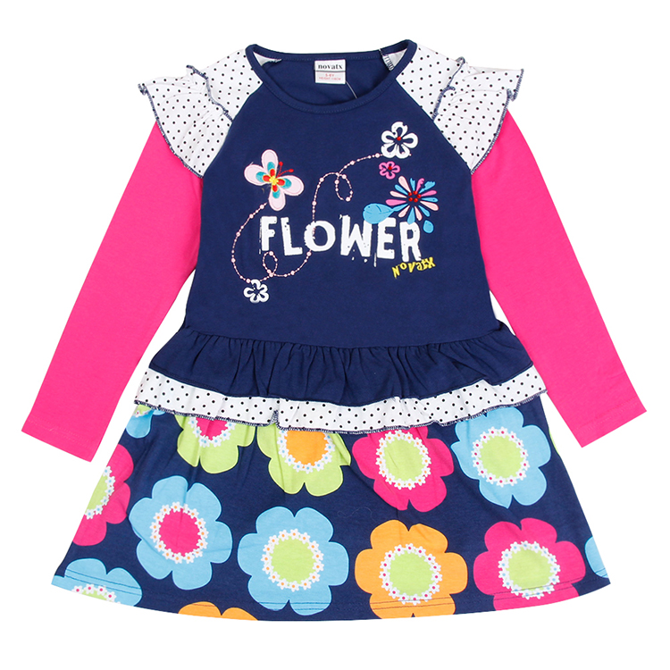 Nova kids brand baby's clothes girls dresses high quality hot selling winter flower printed kids dresses children frocks(China (Mainland))