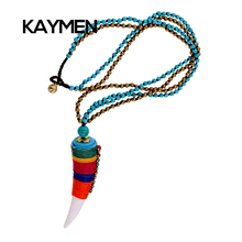 Multicolor Bohemian Style Pendant Necklace OX Horn Shape Winded 5 Color Wax Cord Especial Desingn Long Necklaes for Women(China (Mainland))
