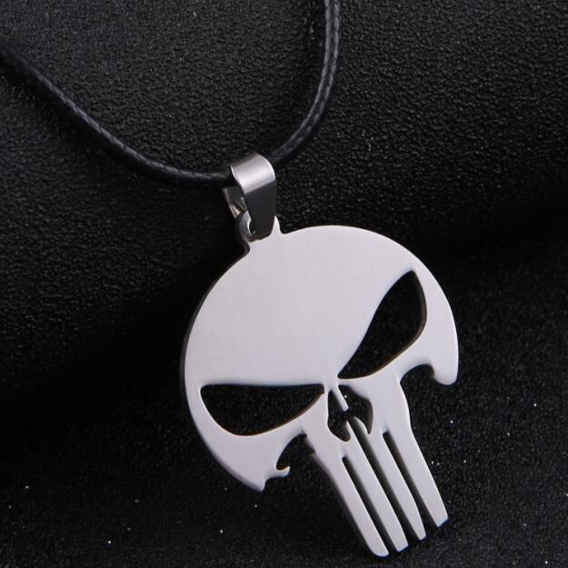 HOT Silver Chain Men Jewelry MARVEL SUPER HERO SKULL The PUNISHER DARK KNIGHT Stainless Steel silver